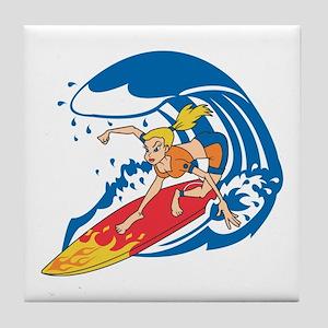 SURFER GIRL [blonde] Tile Coaster
